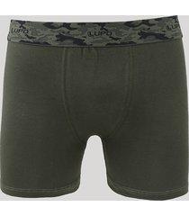 cueca boxer masculina lupo camuflada verde escuro