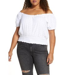 plus size women's bp. off the shoulder eyelet top, size 3x - white