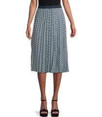 max studio women's print pleated skirt - navy combo - size l