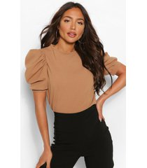 crepe puff sleeve top, camel