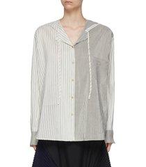contrast striped panel hooded pyjama blouse