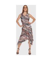vestido mullet carbellafabi barra lençol e laço midi estampado cinza