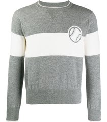 thom browne baseball icon cashmere sweater - grey
