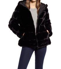women's via spiga hooded faux fur coat, size small - black