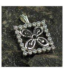 sterling silver pendant, 'cola nut' (ghana)