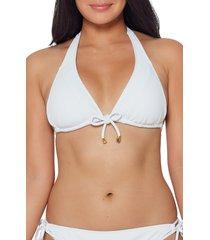 bleu by rod beattie walk line triangle bikini top, size 14 in white at nordstrom