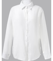 botón delantero diseño blusa de manga larga con cuello classic