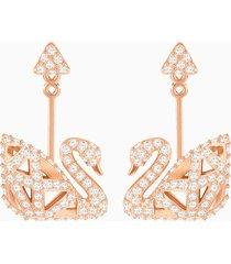 orecchini facet swan, bianco, placcato oro rosa