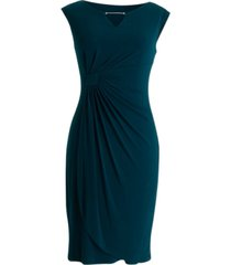 connected plus size cap-sleeve side-ruched sheath dress