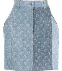 marine serre moon-print denim skirt - blue