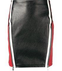 alexander mcqueen block colour leather skirt - black