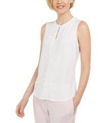 kasper sleeveless scallop front blouse