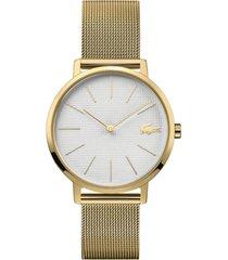 lacoste women's moon gold-tone stainless steel mesh bracelet watch 35mm