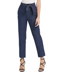 dkny belted high-waist denim pants