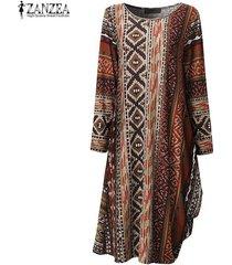 zanzea mujeres geométrica de impresión vestidos casuales de manga larga cuello de o flojo asimétrico vestido holgado femininas vestidos de gran tamaño -borgoña
