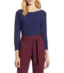 women's halogen back detail sweater, size x-large - blue