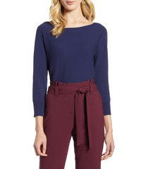 women's halogen back detail sweater, size large - blue