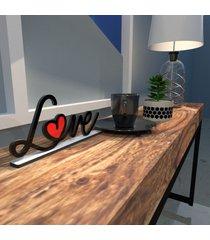 escultura de mesa preto love drawing com coraã§ã£o em acrãlico vermelho ãšnico - multicolorido - dafiti