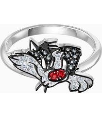 anello con motivo looney tunes silvestro, multicolore, placcatura rodio