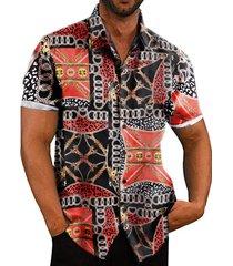 hombres verano hawaii algodón bufanda estampado bohemio playa vacaciones camisa
