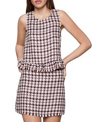 frayed houndstooth sleeveless top