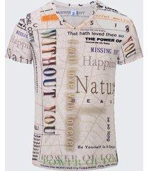 le lettere personali respirabili degli uomini di estate stampano le magliette casuali del collo a v