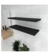 kit 2 prateleiras para banheiro em mdf suporte inivisivel preto 90x30cm modelo pratbnp20