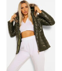 glanzende gewatteerde jas met faux fur capuchon, khaki