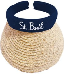 woman straw visor cap blue