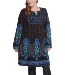 white mark women's plus size phebe embroidered sweater dress