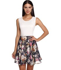 white stylish ladies floral patchwork o-neck slim casual tank going out dresses