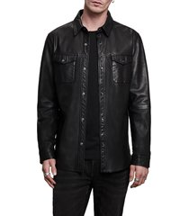 men's john varvatos lionel leather shirt jacket, size xx-large - black