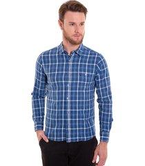 camisa xadrez areia branca slim fit manga longa azul
