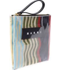 marni multicolor pvc glossy striped clutch