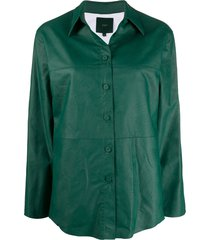 jejia panelled faux-leather shirt - green