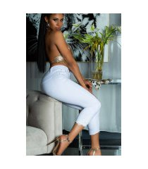 sexy hoge taille jeans cropped met kant details wit