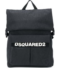 dsquared2 fold-down backpack with buckle fastening - black