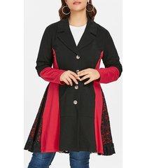 plus size lace panel color block coat