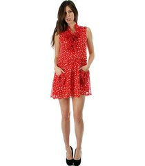 sweet flirty red chiffon polka dot sleeveless anytime mini dress w/ pockets
