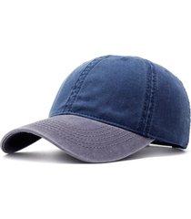 berretto da baseball in denim lavato unisex patchwork berretto regolabile vintage a sei bottoni a basso profilo a due tonalità