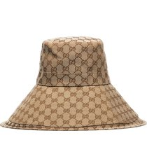 gucci gg supreme wide-brim hat - brown