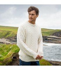 men's traditional merino wool aran sweater cream large