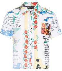 martine rose plissé printed zip-up shirt - multicolour