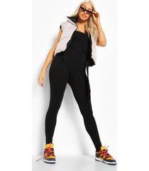strapless jumpsuit met ceintuur, black