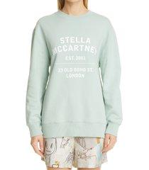 stella mccartney 23 obs logo organic cotton sweatshirt, size medium - green