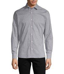 bertigo men's geometric-print long-sleeve shirt - white - size l