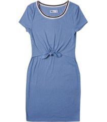 big girls short sleeve solid front tie dress