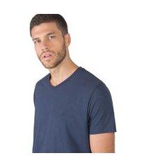 t-shirt gola v básica azul jeans azul jeans/m