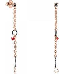 aretes largos motif de plata dark silver y plata vermeil rosa con gemas