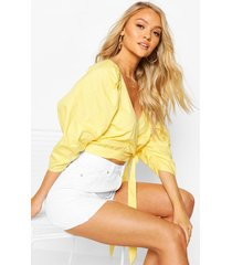 woven puff sleeve wrap front blouse, yellow